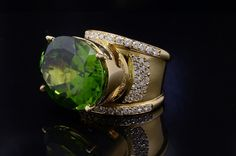 HUGE 24 Carat #Peridot and Diamond #RightHandRing or #FashionRing, and #DesignerRing.
