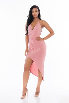 Renee Choker Bodycon Dress- Mauve Pink
