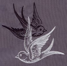 """Light and Shadow Swallows"" Overlapping birds create a dynamic contrast. - UT5584 (Machine Embroidery) 00467512-053013-0647-3"