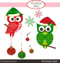This item is unavailable Christmas Owls, Christmas Clipart, Christmas Ornaments, Owl Clip Art, Christmas Scrapbook, Art Images, Printables, Holiday Decor, Unique Jewelry