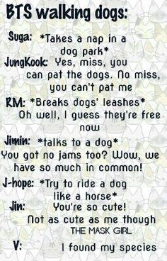 BTS Walking dogs. Written by the mask girl