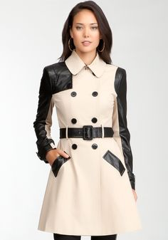 Bebe Woven Leatherette Sleeve Trench Coat