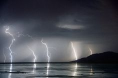 Lightning over the Great Salt Lake, Utah