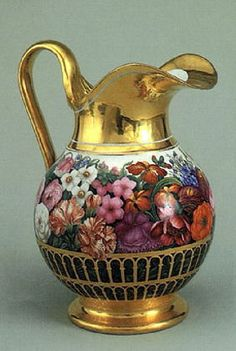 Pitcher porcelain overglaze painting, gilding Imperial porcelain factories in 1830.