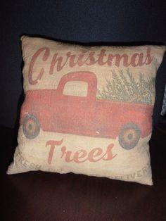 Accent PilloW Advertisement SoutherN PinE Xmas TreeS Primitive Country Decor #nannysattic15 Ebay