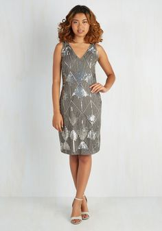 Dreamy Gleaming Dress. After slipping into this charcoal grey shift dress, you pinch yourself, feeling like its beauty is only a dream. #grey #modcloth