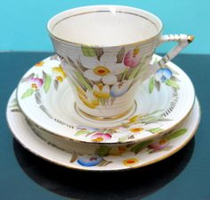 "Art Deco Vintage Phoenix Ware China Teacup Trio ""Bouquet"" pattern by Thomas Forrester & Sons c.1920s"