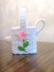 Floral Watering Can Tissue Cover - free crochet pattern