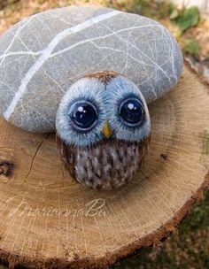 Painted rocks Hand-painted stone Owlet by MariannaArtStones