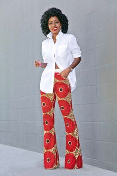 Oversized Button Down Shirt + Ankara Print Pants