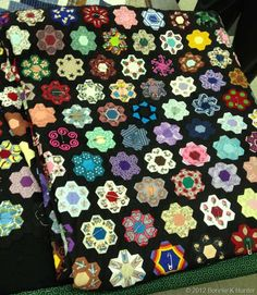 fussy cut hexies in a gorgeous quilt