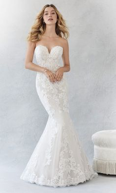 A lace wedding dress with extreme sweetheart neckline and fishtail skirt.
