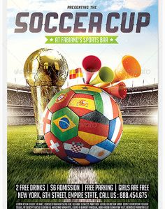 Brazil Soccer Cup 2014 Football flyer - Party Flyer Templates For Clubs Business & Marketing
