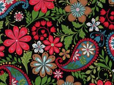 1 Fat Quarter, Paisley Fabric, Floral Fabric, Serafina by Blank Quilting, Black…