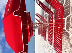 Items similar to Beach Umbrella Crush Reds - Graphic Nautical Bright Color Seaside Red Lounge Deck Chairs Wall Art Photography Beach House Coastal Cottage on Etsy Fotografia Pb, Photography Beach, I See Red, Red Beach, Summer Beach, Beach Bum, Summer Days, Red Umbrella, Beach Umbrella