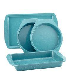 Love this Gulf Blue Speckle Nonstick Four-Piece Bakeware Set on #zulily! #zulilyfinds