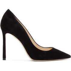 Jimmy Choo Black Suede Romy Heels ($535) ❤ liked on Polyvore featuring shoes, pumps, black, black shoes, black stiletto pumps, high heel stilettos, pointed toe high heels stilettos and pointed toe pumps