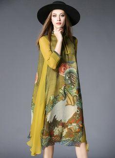 Seide Blumen 3/4 Ärmel Midi Vintage Kleider