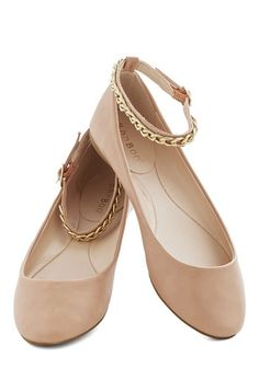 Glint of Glitz Flat - Flat, Faux Leather, Tan, Solid, Chain, Daytime Party, Good