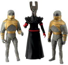 73. Pyramid of Mars collectors' set: contains Sutekh (wearing jackal mask) and 2 osiris guard robots