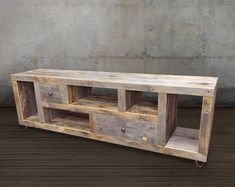 Reclaimed Wood Media Console / Credenza  • Dimensions: 72L x 17D x 24 • Drawers set on stainless steel ball bearing tracks • Matte poly finish  View Our Entire Media Console, TV Stand Collection, https://www.etsy.com/shop/AtlasWoodCo/items?ref=hdr_shop_menu&search_query=media+consoles  With our latest entertainment console we set out to create a highly functional entertainment center with an open design which also allows a great deal of storage spac...
