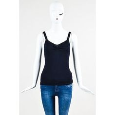 Designer Clothes, Shoes & Bags for Women Loose Tops, Knitted Tank Top, Blue Wool, Wool Blend, Basic Tank Top, Backless, Black Spaghetti, Zac Posen, Tank Tops