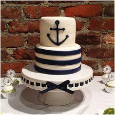 Baby shower cake.  Navy fondant.