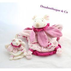 Doudou marionnette souris DOUDOU ET COMPAGNIE maman et bébé rose 23 cm
