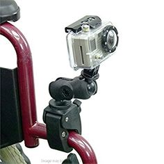Wheelchair rail and tube compact mount for GoPro Hero
