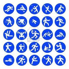 logo's van sport, Olympische Spelen, blauw op een witte achtergrond Stockfoto - 9777030