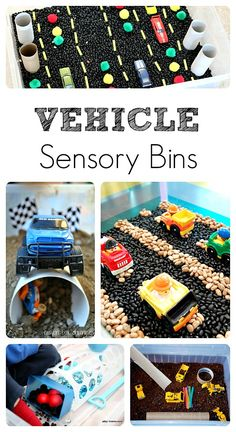 5 Fun Vehicle Sensory Bins – Fantastic Fun & Learning Vehicle Sensory Bins…fun play activities for kids Sensory Tubs, Sensory Boxes, Sensory Activities, Sensory Play, Preschool Activities, Sensory Diet, Preschool Kindergarten, Toddler Preschool, Toddler Crafts