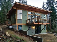 beautiful modern green cabin