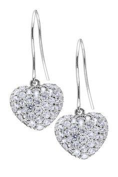 Sterling Silver & White Sapphire Heart Dangle Earrings.
