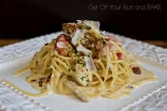 Just Get Off Your Butt and Bake Favorite Main Dish: Chicken & Bacon Alfredo over Pasta Pasta Dishes, Food Dishes, Main Dishes, Pasta Recipes, Chicken Recipes, Dinner Recipes, Turkey Recipes, Chicken Bacon Alfredo, Chicken Ham
