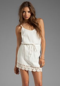 FOR LOVE & LEMONS Tennessee Mini Dress with Lace Trim in Ivory at Revolve Clothing - Free Shipping!
