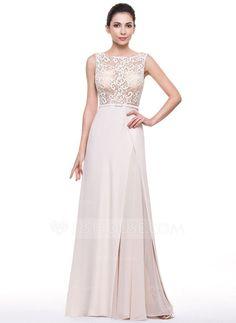 [US$ 117.00] A-Line/Princess Scoop Neck Sweep Train Chiffon Lace Evening Dress