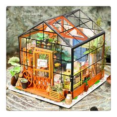 24 Miniature Dollhouse DIY Kit Cathy's Flower House with Light Handcraft Project Florist Shop Greenhouse Model Gift Home Decor Robotime