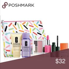 Clinique 7-piece gift set A  $70 value Includes:  • Sprinkle Cosmetics bag •Clinique Dramatically Moisturizing Lotion+ • Mini High Impact Mascara • Clinique Happy Perfume, 4ml •Take the Day off Makeup Remover • Clinique Color Compact (Eyeshadow duo jn Fog and gray matters/ Blushing blush powder blush jn Iced Lotus blush) • Clinique Pop glaze sheer lip colour+ primer in Bubblegum Pop Clinique Makeup