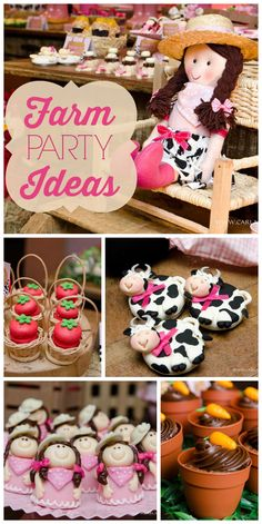 A cute Farm girl birthday party with adorable animal treats, decorations and birthday cake!  See more party ideas at CatchMyParty.com!