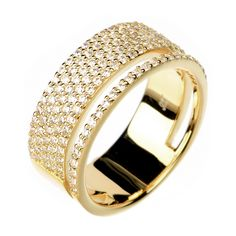 8c8d15ccae Double Accent | Sterling Silver 14K Gold Plated Modern Double Band Design CZ  Pave Set Right