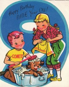 Vintage 1950s UNUSED Happy Birthday Nine Year Old Greetings Card (B6a) via Etsy