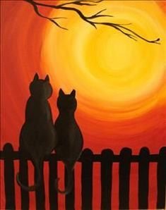 Quiet Kitties - Ponte Vedra Beach, FL Painting Class - Painting with a Twist #catcanvaspainting
