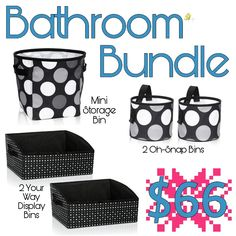 Thirty-one Bathroom Bundle (using January 2018 Customer Special) Your Way Display Bin in Ditty Dot / Item Code: 8995 Craft Storage Solutions, Kids Storage, Thirty One Fall, Thirty One Gifts, Thirty One Organization, Organization Hacks, 31 Gifts, Great Gifts, Thirty One Consultant