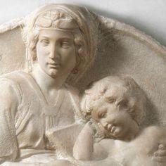 МИКЕЛАНДЖЕЛО. Скульптуры от 1502 Мадонна (Тондо Питти) (фрагмент). 1504-05 Мрамор. Музей Национале дель Барджелло, Флоренция