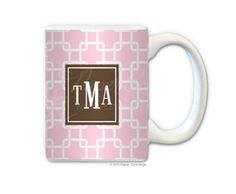 Baby Pink/Brown Personalized Coffee Mug from Paper Concierge