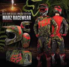 Fox Limited Edition San Diego Collection. - This time around, the LE collection offers a V3 Helmet, 360 Racewear and a Podium gearbag.