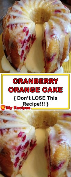 Here is something different to whip up. I'm thinking Easter would be nice. Nice flavors of cranberries and oranges. Ingredients: 1 cups flour 2 teaspoons baking powder teaspoon salt 1 cup sour cream 1 cup sugar 3 large eggs zest of Desserts My Recipes, Sweet Recipes, Baking Recipes, Holiday Recipes, Cake Recipes, Dessert Recipes, Favorite Recipes, Recipies, Orange Recipes