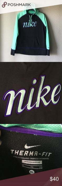 Nike Hoodie Like New super soft Super soft and warm. Really cute colors. EUC Nike Sweaters