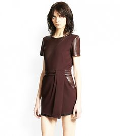 Leather-Paneled Crepe Dress by The Kooples // shopping