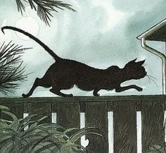 Slinky Malinki was blacker than black A stalking and lurking adventurous cat He had bright yellow eyes and a warbling wail And a kink at the end of his very long tail By Lynley Dodd